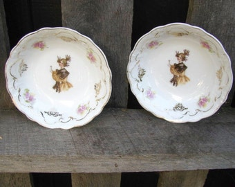 2 Antique (1899-1910) Bavarian, Zeh Scherzer & Co, Embossed Berry Bowls With Victorian Woman in Brown Shawl, Pink Flowers, Gold Trim