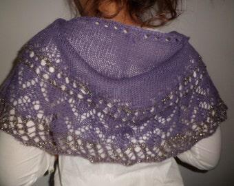 Wonderful shawl knit lace wool Alpaca Parma/violet glitter