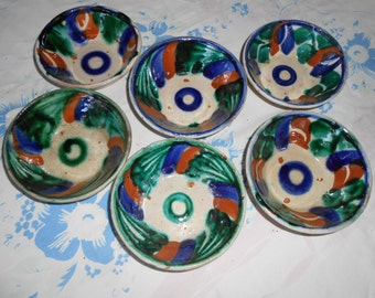 "SALE - 6 Vintage Colorful Hand Made 5"" Mexican Bowls"