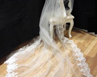 Ivory Bridal Wedding 1 tier cathedral veil / floral lace single layer wedding cathedral veil is for sale