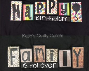 Reversible Wood Sign, Family is Forever/Happy Birthday, Wood Block Set, Family Home Decor, Family Wood Blocks, Double Sided Blocks
