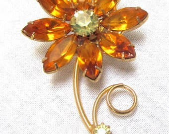 Vintage Rhinestone Brooch Amber Yellow Rhinestone Flower