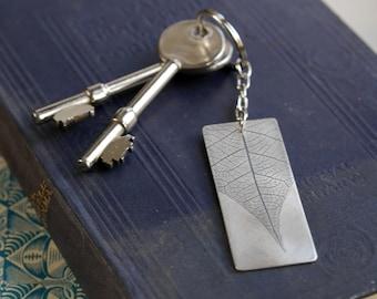 Handmade Leaf Imprint Sterling Silver Keyring
