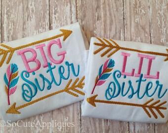 Sibling shirts, Big sister, little sister, big brother, little brother, arrow sibling shirts