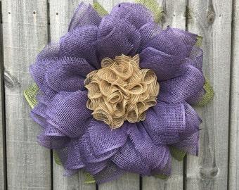 Burlap Wreath, Sunflower Wreath, Fall Decor, Front Door Wreath, Christmas Gift, Handmade Gift, Purple Flower Wreath, Handmade Wreath
