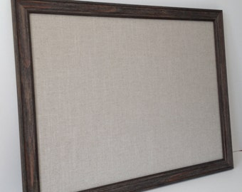 Bulletin board, EX LG barn wood magnet board, sophisticated rustic decor, office decor, place card display, framed magnet board, beige linen