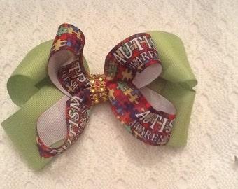 Handmade Lime Green Autism Hair Bow