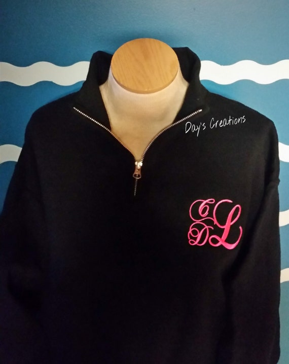 Monogram sweatshirt - Monogram half zip - preppy pullover sweatshirt - quarter zip monogram pullover - Monogram quarter zip sweatshirt