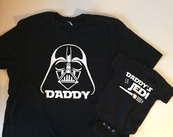 Star Wars, daddy tee and baby onesie