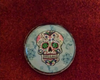 Sugar skull, day of the dead glass cabachons 25 mm for jewelry and crafting.