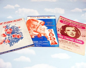 Vintage Sheet Music, 1940s Music, One Dozen Roses, Please Don't Say No, On the Atchison Topeka and the Santa Fe