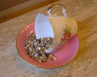 Up-Cycled, Re-Purposed, Hanging  Bird Feeder made with Vintage Cup and Saucer.