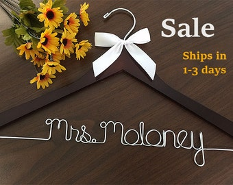 Sale, Wedding hanger, ships Priority mail in US, wedding photos, bridal, Wire hanger with ribbon, name hanger, bridal hanger,