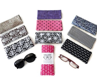 Sunglass Case, Fabric Eyeglass Case, Sunglass Holder, Eyeglasses Holder, Sunglasses Holder, Eyeglasses Case, Black and White, Sunglass Case