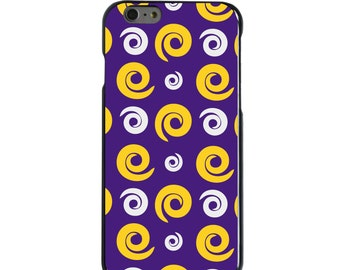 Hard Snap-On Case for Apple 5 5S SE 6 6S 7 Plus - CUSTOM Monogram - Any Colors - Louisiana State LSU Tigers Colors - Swirls Pattern