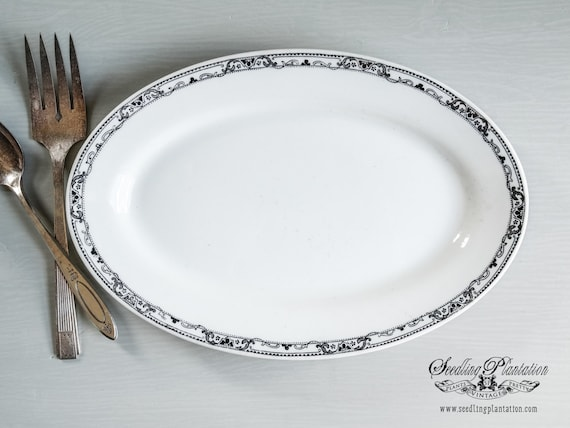 Vintage White Ironstone Platter-French Country Shabby Chic Farmhouse