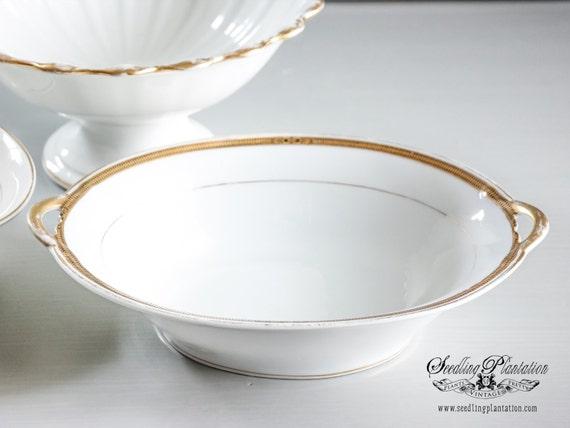 Vintage White Serving Bowl- Vegetable Bowl, Gold, Ironstonel, Cream, White Dishes