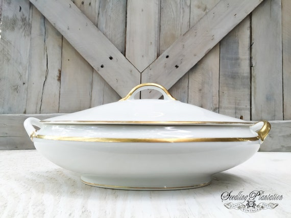 Vintage Covered Serving Bowl-Lidded Bowl, White, Gold, Vegetable Dish, French Country,Porcelain Ironstone Noritake China