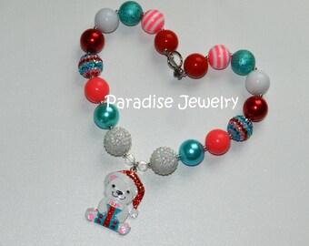 Pink Christmas Gift Bear Necklace, Rhinestone Pendant, Bubblegum Beads, Chunky Bead, Little Girls Special Occasion Christmas Bear, Santa Hat