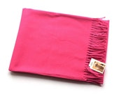 Beautiful Luxurious Soft Baby Alpaca Throw Blanket with Fringe in Vibrant Pink. Add a Splash of Color to Your Home Décor with this Blanket.