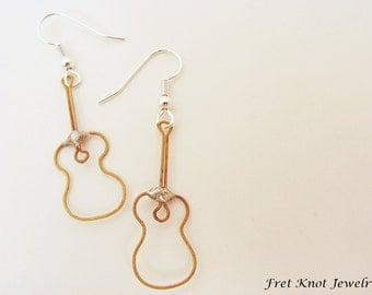 Made of Guitar Strings - Acoustic Guitar Earrings - Recycled Guitar - Handmade