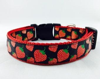 Summer Strawberry Glitter Dog Collar