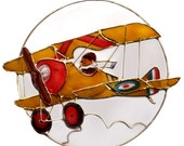 Capiz Shell Biplane Sun Catcher, Barnstormer, Flying Ace, Pilot and Plane