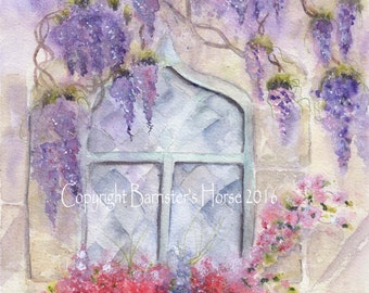 WISTERIA COTTAGE fine art, Giclee Watercolour Painting Print A4. Archival quality inks