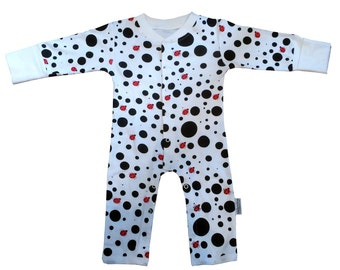 Organic Cotton Dotty Ladybird Babygrow. Made using 100% organic cotton.