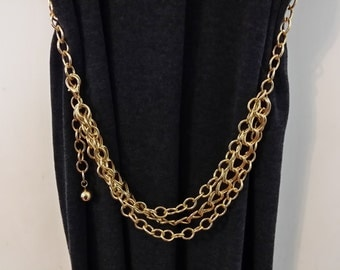 Vintage Triple Chain Belt / Can Be Worn As Necklace As Well