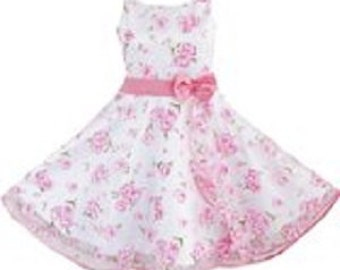 Party Dress, 3 Layers Dress Pink Flower dress; Girls Size 4-8