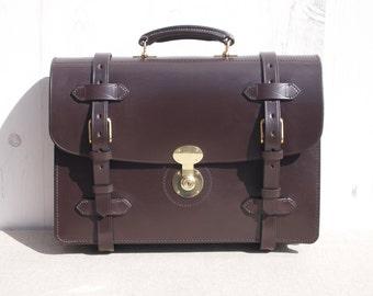 English Bridle Leather Briefcase - Newton Strap Round Briefcase