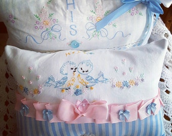 Cottage Pillow Set from vintage Pillowcases