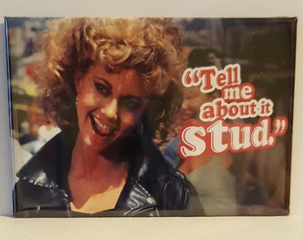 "Sandy ""Tell me about it stud"" Grease Movie 2"" x 3"" Fridge Magnet Art Vintage"