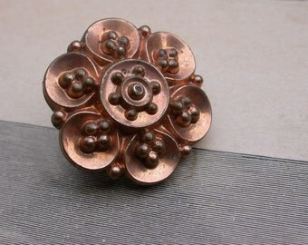 French antique yellow gold vermeil  flower floral brooch star shape brooch