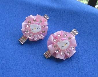 Hello Kitty Pink Ruffle Sequin Rhinestone Hair Clip Set