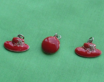 Lot Of Retro Red Hat Red Charms Pendants