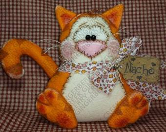 E-Pattern - Nacho the Cat Pattern #125 - Primitive Doll/Ornie E-Pattern