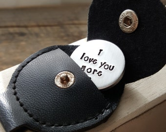 Pocket token charm I love you more Valentine Gift Boyfriend Gift Girlfriend Gift Hand stamped love message optional keychain case