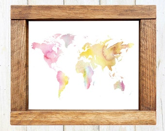 Watercolor World Map - INSTANT DOWNLOAD