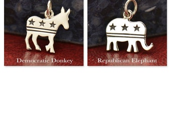 Sterling Silver Democratic Donkey or Republican Elephant Charm with Stars and Stripes