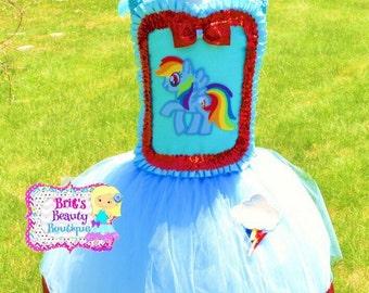 Inspired by Rainbow Dash My Little Pony Tutu Dress & Headband/My Little Pony Tutu/My Little Pony Costume/Rainbow Dash Dress/Rainbow Dash Cos