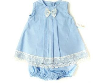 Baby Blue Spring Baby Girl Set - Baby Girls' Clothing- Baby Girl Dress - Toddler Dress - Baby Dress 3M - 18M