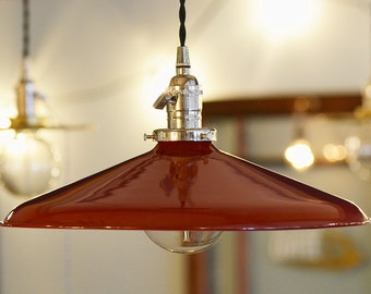 "14"" METAL PENDANT SHADE - Industrial Style - (Red)"