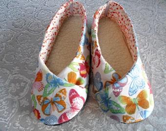 "SLIPPERS women T37 sole hot, printed ""butterflies"""