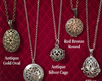 Essential Oil Diffuser Necklaces.  Choose from 11 styles.  Great Essential Oil Jewelry.  Best way to dispense oils all day!