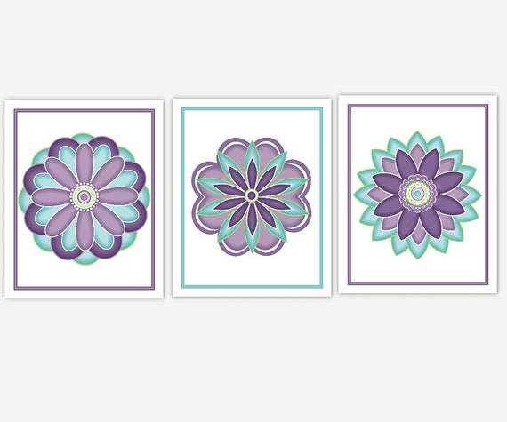 Teal Flower Wall Decor : Floral wall art purple teal lavender baby nursery prints girls