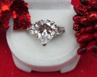 3 Stone Pear Shape Engagement Ring
