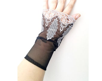 Black Grandeur luxury Wedding wrist cuffs glove,  Bridal accessory, wrist warmers gothic burlesque goth vintage, vampire glove