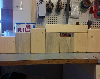 Unfinished Reversible Block Sets -  10 Piece- Stacking Blocks -  Holiday Blocks